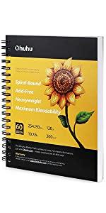 """Ohuhu Marker Pads Art Sketchbook, 7.6"""" ×10"""" Large 120LB/200GSM 60 Sheets/120 Pages"""