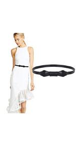 Women Leather Skinny Belt for Dress