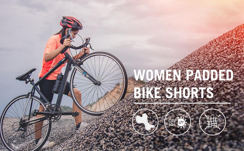 BALEAF Mallas de ciclismo para mujer con acolchado 3D para bicicleta