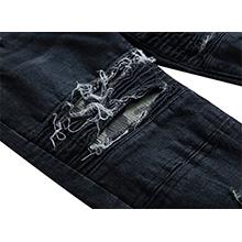 Men's Jeans Skinny Denim Biker Jeans Camouflage Patchwork Patches Pants Elastic Slim Black Trousers