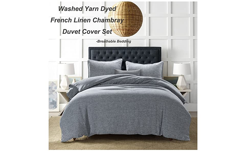 linen chambray duvet cover set