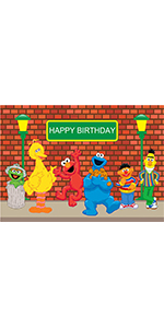 7x5ft Sesame Street Brick Wall Photography Backdrop Supplies Cake Props…