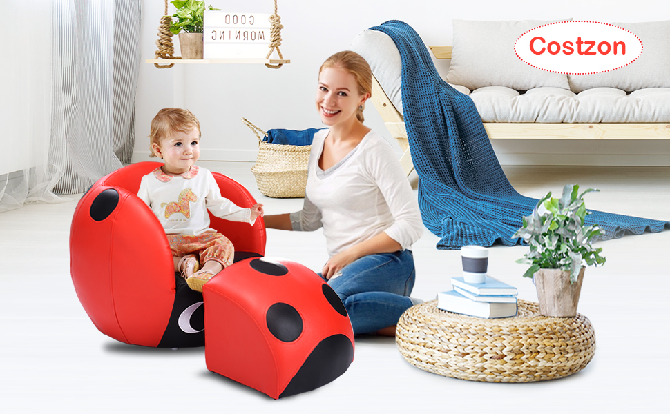 Pleasant Costzon Childrens Sofa And Ottoman Ladybug Shaped Kids Armchair With Footstool Solid Wood Structure Bearing Up To 110Lbs Easy Clean Pvc Cover Evergreenethics Interior Chair Design Evergreenethicsorg