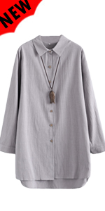Linen Shirts Tunics Hi Low Tops Boyfriend Button Down Blouse