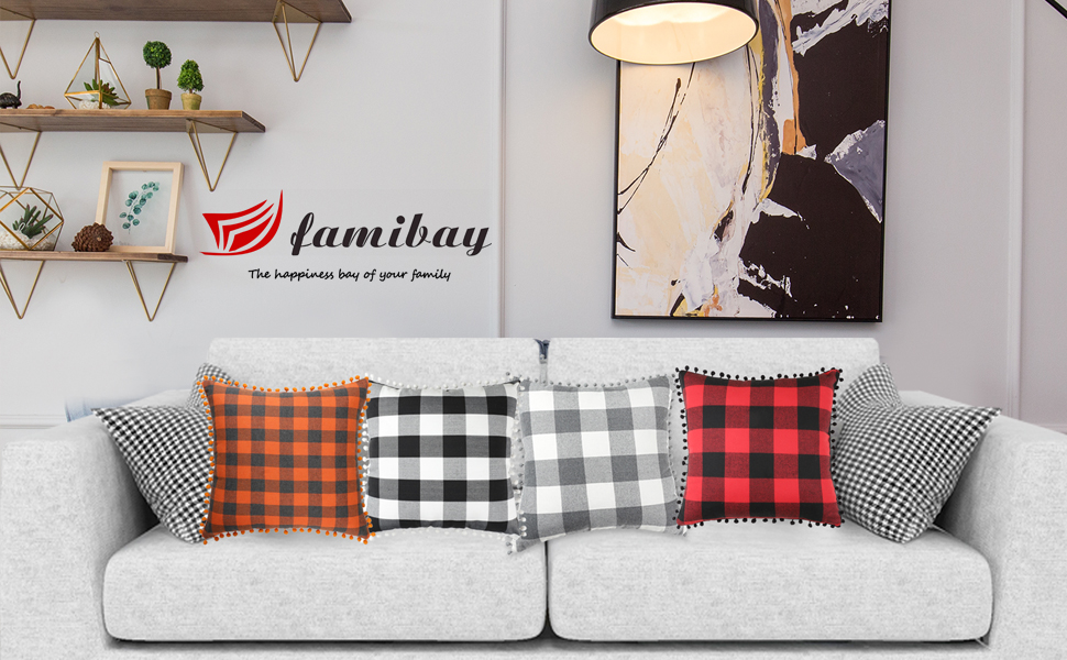 Buffalo Check Pillow Covers with Pom-Poms