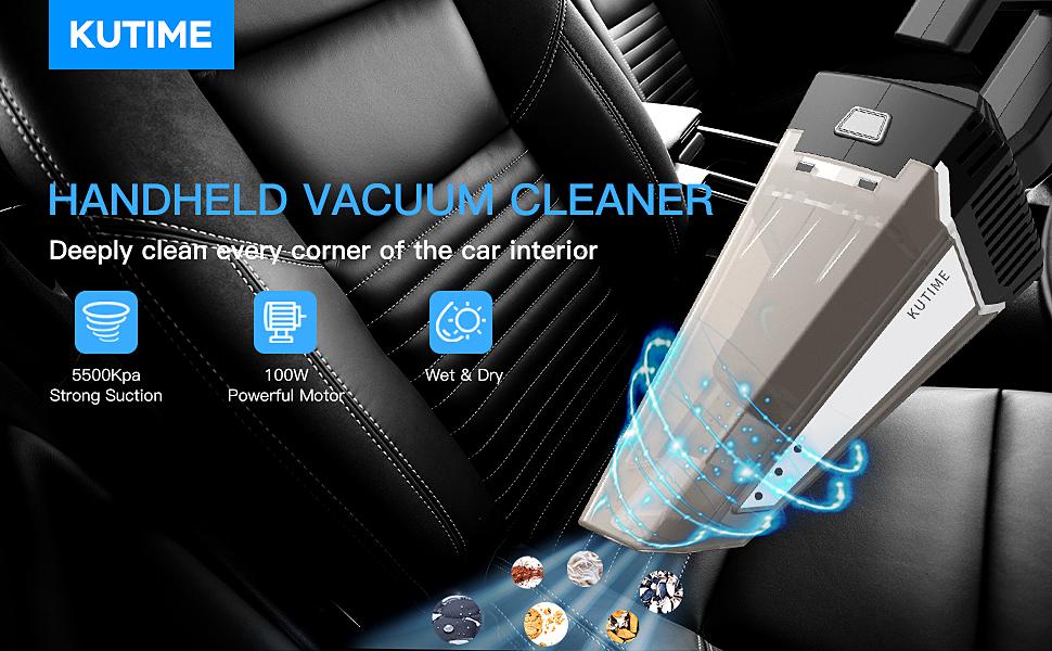 KUTIME Car Vacuum Cleaner, Strong Suction of 5500PA Super Powerful Handheld Vacuum Pet Hair Cleaner