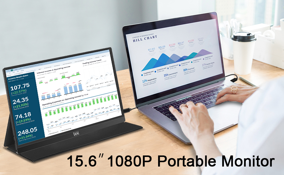 """PORTABLE MONITOR - IVV 15.6"""" 1080P FULL HD USB TYPE-C & HDMI EXTERNAL MONITOR FOR LAPTOP/PC/SMARTPHONES/XBOX ONE/SWITCH/PS3 PS4 PS5, EYE CARE DISPLAY WITH DUAL SPEAKERS, VERTICAL SCREEN"""
