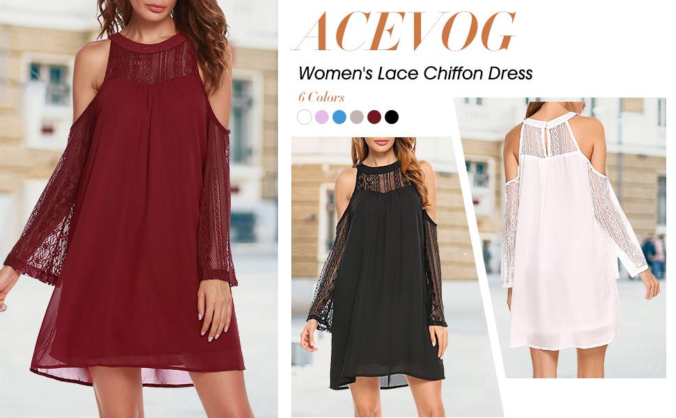 ACEVOG Chiffon Lace Dress