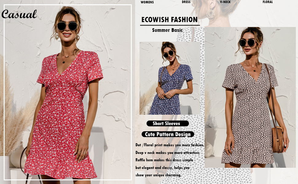 ECOWISH Womens Floral Dress Deep V Neck Short Sleeve Sexy A Line Fashion Mini Dress