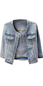 Women's Collarless Denim Jackets Three Quarter Coat