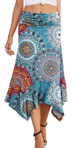 PrinStory Women's Casual Elegant Flowy Handkerchief Hemline Midi Skirt