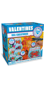 28 Pcs Valentines Day Gift Cards with Funny Sea Animal Toys