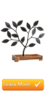 Black Metal Jewelry Tree, Earring Necklace Hanger with Wooden Tray Holder