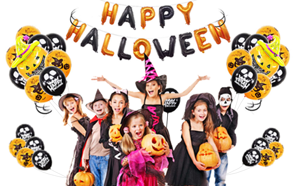40 Pcs Decorations Include Halloween Banner//Latex Balloons//Paper Garlands//Star, Pumpkin/&Bat Inflatable Balloons Happy Halloween Party Decoration Halloween Balloons Banner Kit Happiness maker