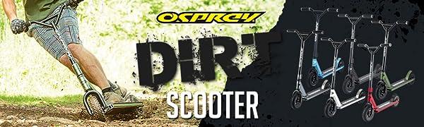 dirt scooter,offroad scooter, off road scooter, all terrain scooter, osprey scooter, razor, mongoose