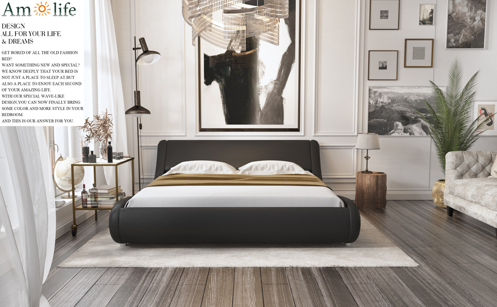a  Amolife Upholstered Full Bed Frame/Deluxe Solid Modern Platform Bed/Mattress Foundation/Faux Leather Full Size Bed Frame with Adjustable Headboard and Slat Support, Black 0a376212 b0f1 4b77 809c 9f506c6d125f