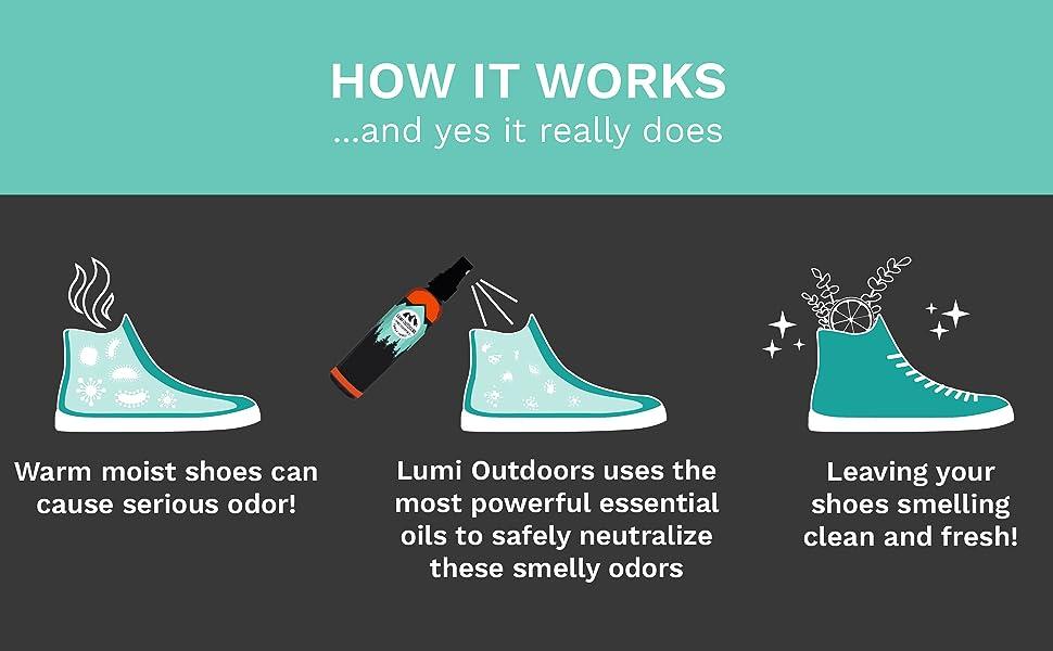 lumi outdoors natural shoe deodorizer spray extra strength foot odor eliminator