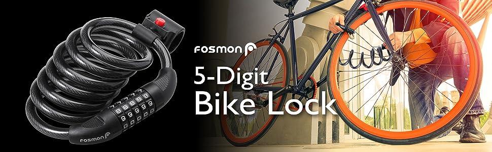 5 Digit Antivol de vélo vélo code combinaison Fort Sécurisé Métal Cycle Câble 1.8 m
