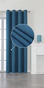 SMM Blue Blackout Linen Look Curtains