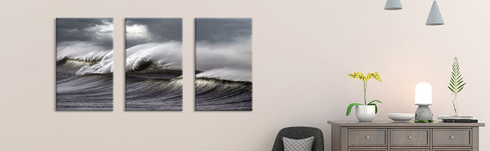 Amazon Com Hardy Gallery Seascape Artwork Wave Picture Painting Ocean Storm Photographic Art Print On Canvas For Wall 26 X16 X3pcs Posters Prints