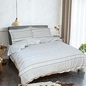 Merryfeel 100% Cotton Yarn Dyed Stripe Duvet Cover Set