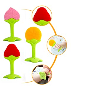 silicone baby fruit teething toys with bright color and multiple textured for chew