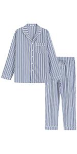 men cotton plaid pajamas set for men lightweight long sleeves shirt full length pants