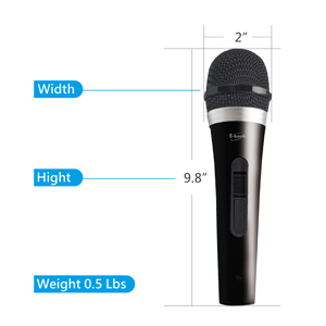 Mic1 Vocal Dynamic Handheld Cardioid Microphone with On//Off Power Switch and 10ft Detachable XLR Audio Cable for Mixer Wedding Karaoke Machine Party Recording Podcasting etc School Amplifier