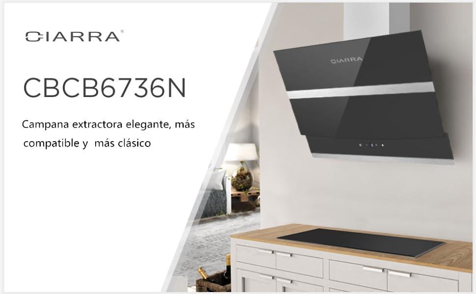 CIARRA Campana Extractora 60cm 750m³/h 210W - Pantalla Táctil - 3 ...