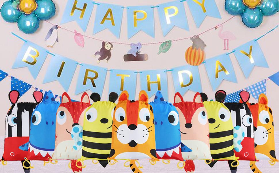 BeebeeRun Bolsas de Cuerdas Infantil Niños Niñas,10 pcs Bolsas Cordon Regalo Fiesta Cumpleaños,Saco de Deporte Bolsas de Gimnasio