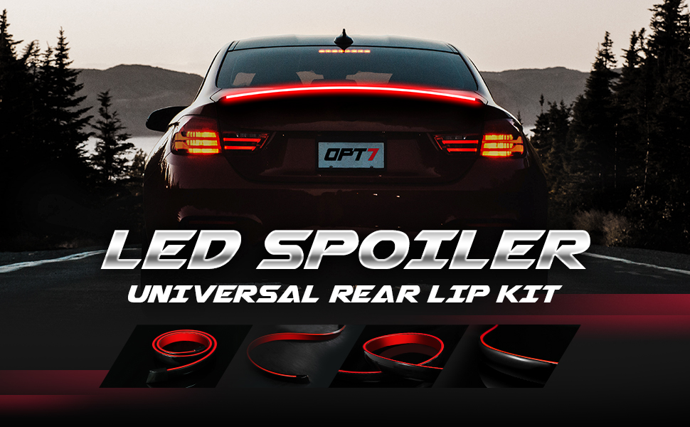 Trunk Spoiler Wing and Easy Installation 3.9ft OPT7 Universal LED Spoiler Rear Spoiler Lip Kit Universal Fit for Roof Brake light Carbon Fiber Finish for Car Trunk Exterior Accessories