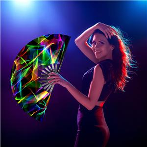 rave hand fan folding fan for women chinese japanese hot flash handheld fan