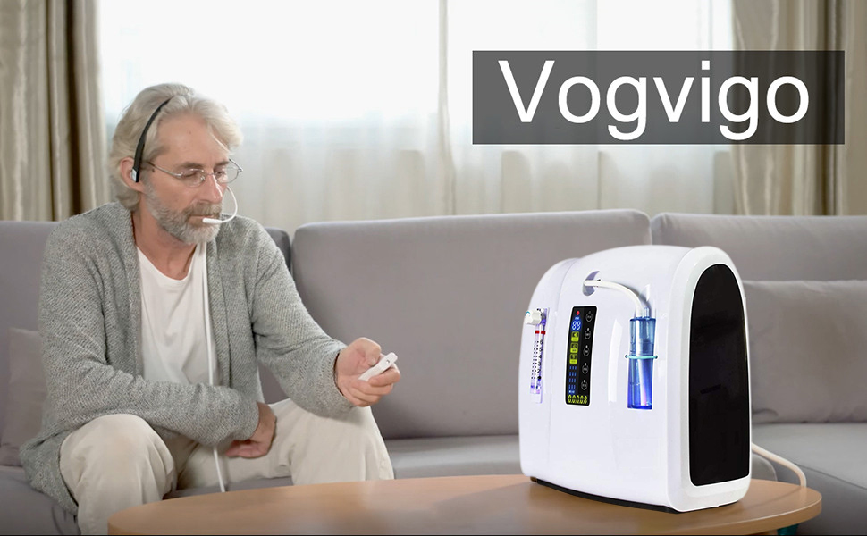 Vogvigo Máquina de oxígeno portátil,1-6L/min Concentrador de ...