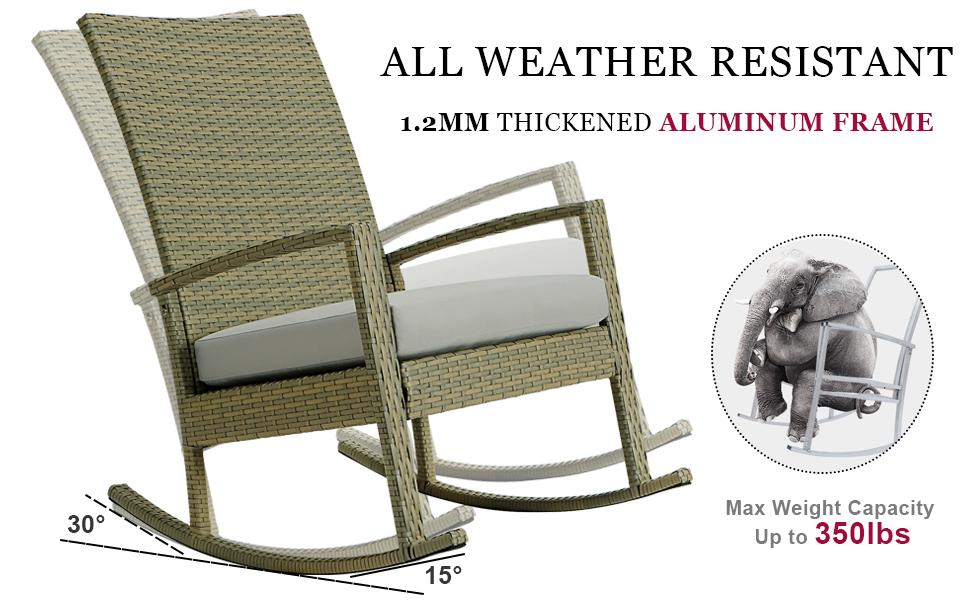 outdoor rocking chair aluminum metal frame