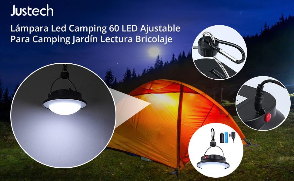 Justech 60 LED Luz de Camping Lámpara de Colgante Portátil Luces de Interior al Aire Libre Lumen LED Súper Brillante para Camping Decoración Exterior ...