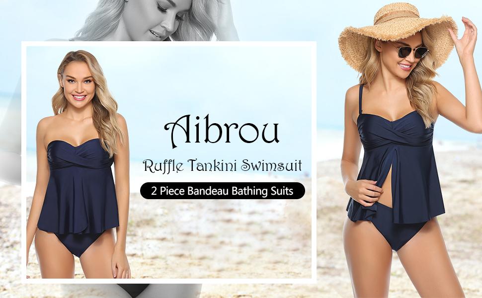 Swim Shorts Set Swimwear for Summer Aibrou 2 Piece Tankini Swimsuit Women Bandeau Bathing Suits Ruffle Push Up Top