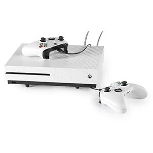 Base Consolas PlayStation y Xbox - Soporte Horizontal de Hierro para PS4, Slim y Pro, PS3, Xbox One X, Xbox One S, Xbox 360 - Incluye Cable de Carga para Mandos -
