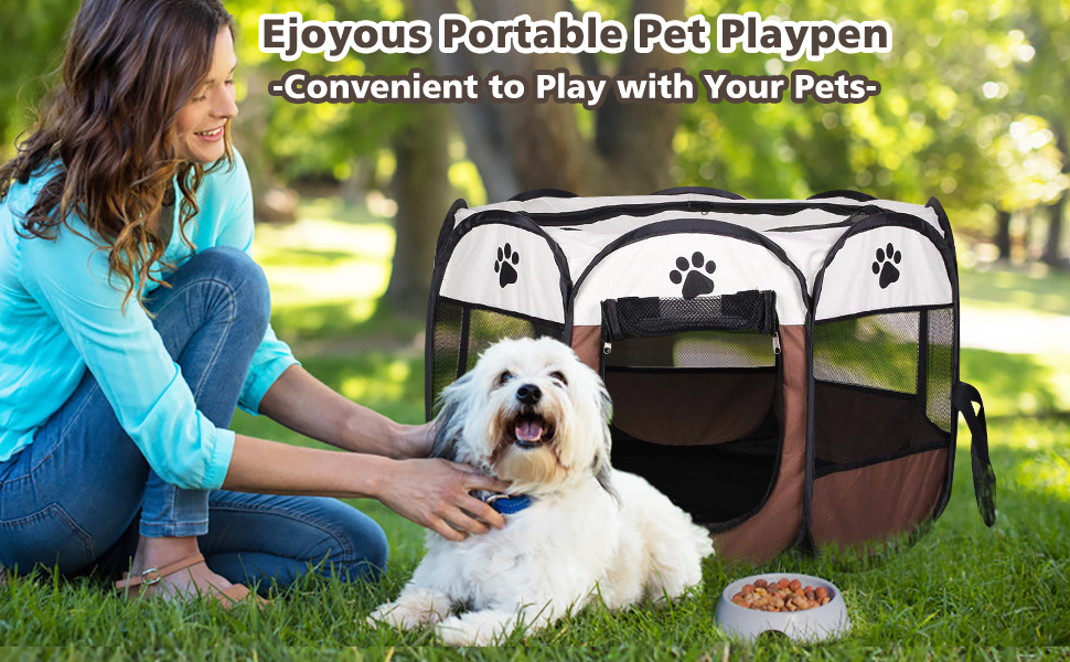 Pet Cat Dog Portable Foldable Crate Cage coffee