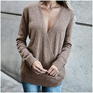 womens sweaters long sleeve deep v neck sexy sweater tops wrap front loose knitted sweater for women
