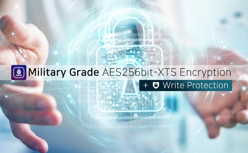 AES256bit-XTS Military grade encryption