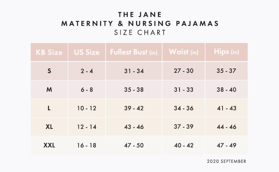 Jane Maternity Size Chart