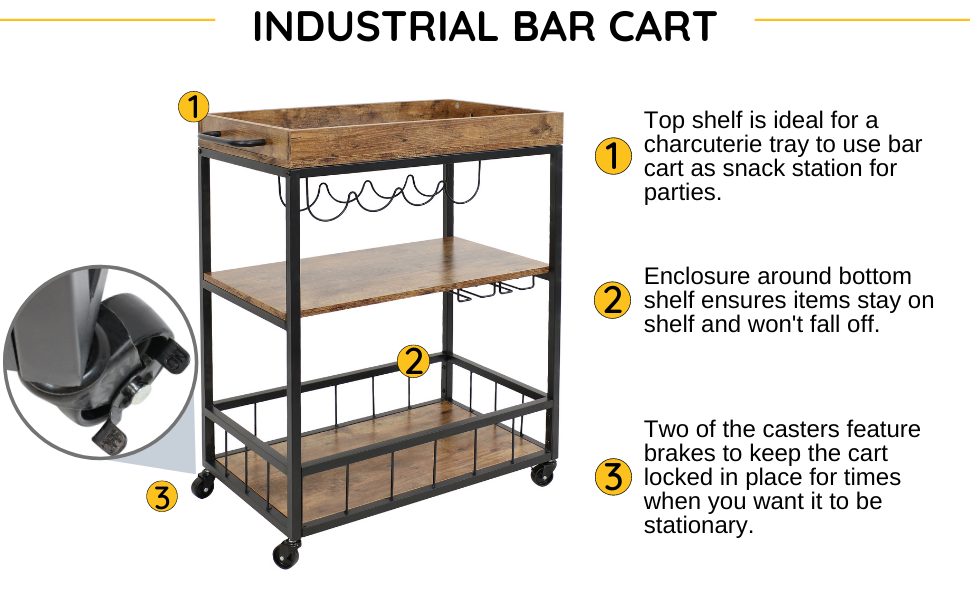 Top shelf is ideal for a charcuterie tray to use bar cart as snack station for parties.