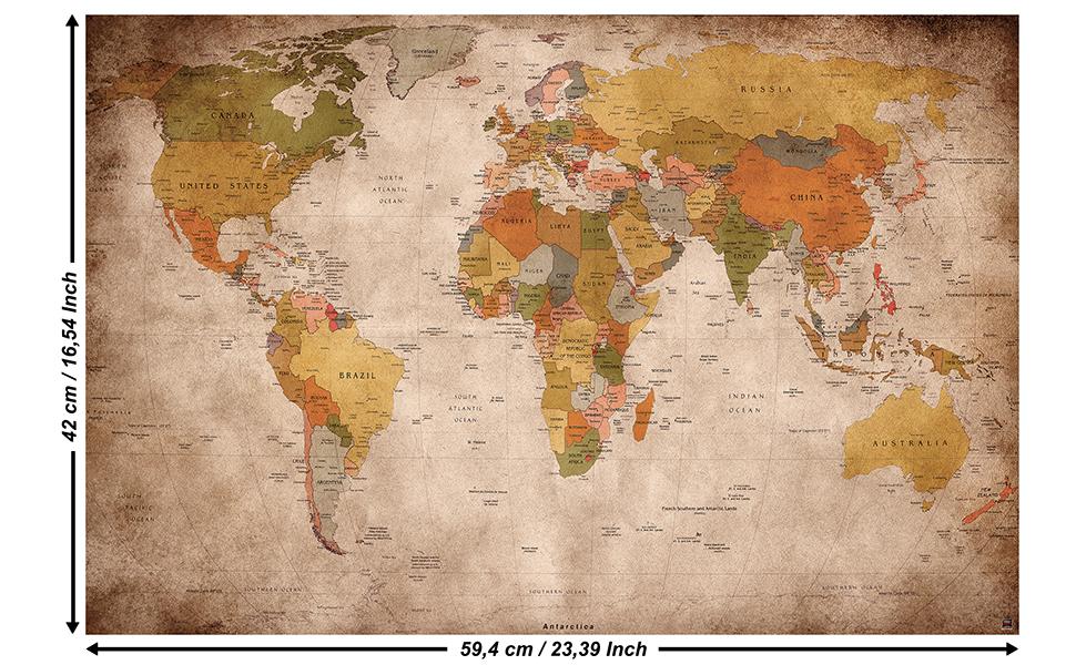 GREAT ART Poster - Mapa del Mundo - (59,4 x 42 cm) Decoración Mural Old School Vintage Mapa del Mundo Globo continentes Atlas Retro Mapa del Mundo geografía Apariencia Usado A2: Amazon.es: Hogar