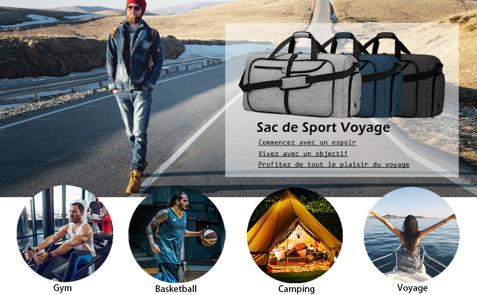 NEWHEY Sac de Voyage Pliable Homme R/ésistant /à leau Grand L/éger Sac de Sport Camping Randonn/ée Pliant 65L Bleu