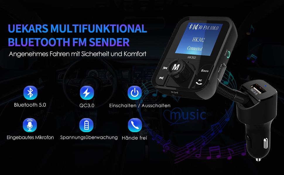 Uekars Auto Fm Transmitter Bluetooth 5 0 Radio Adapter Elektronik