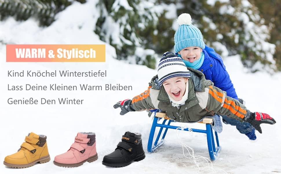 Outdoor Schneestiefel Boots Warm Putu Jungen Mädchen Kinder Gefüttert Winterschuhe D29IEH