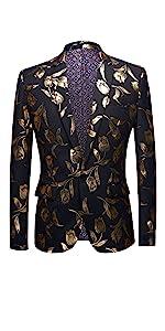 Men's Sport Coat Button Closure Slim Fit Party Blazer Golden Dinner Suit Jacket