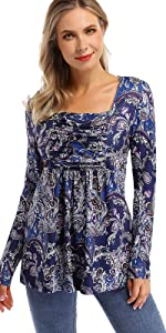 Womens Square Neck Ruched Tops Empire Waist Tunics