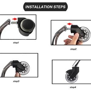 """Office Chair Caster Wheels 3"""" Upgrade Replace Casters ,Safely Care for  Hardwood Floors and Carpets"""