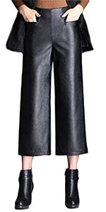 Tanming Womens High Waist Black Faux Leather Cropped Pants